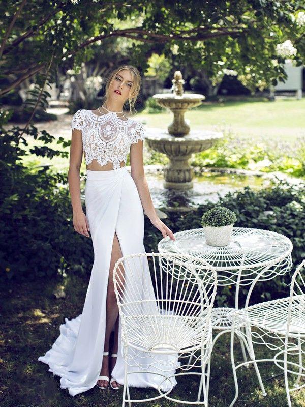 Sheath/Column High Neck Short Sleeves Lace Court Train Chiffon Dresses