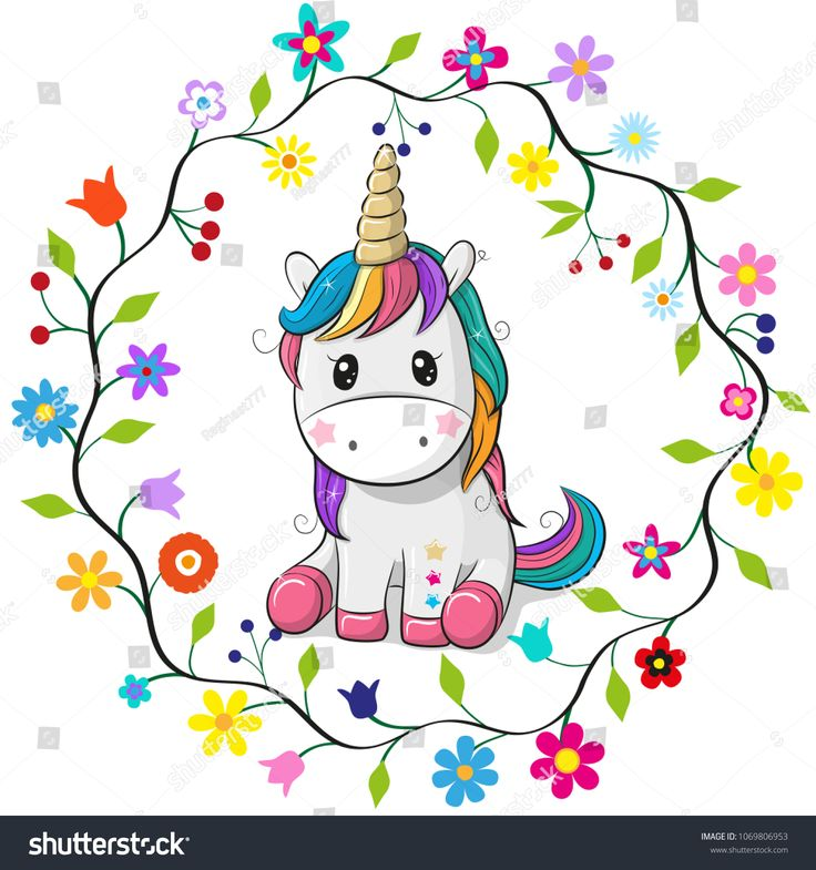 cute unicorn cartoon - 736×785