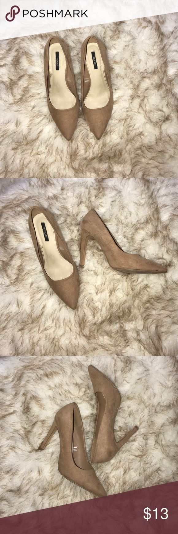 Suede tan heels Lightly worn in great condition. Shoes Heels