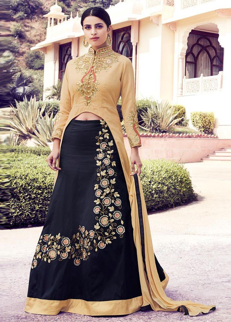 Buy Saree Online Designer Beige And Blue Colour Georgette Party Wear Salwar Kameez UK