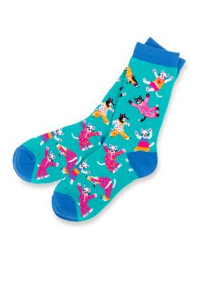 Little Blue House By Hatley Women's Women's Pajama Cats Crew Socks - Single Pair - Aqua - One Size