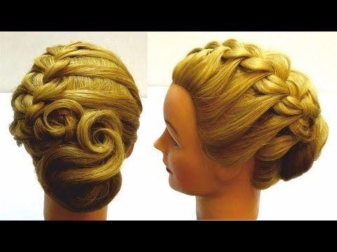 Вечерняя прическа.Прическа на длинные и средние волосы.Evening braided updo for long and medium hair - YouTube