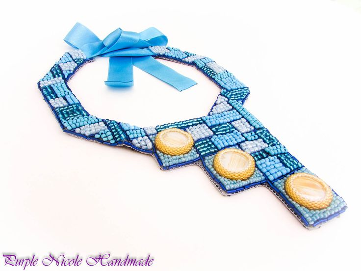 Mozaic - Handmade Statement Necklace made by Purple Nicole (Nicole Cea Mov) inspired by the summer beaches. Materials: satin ribbon, 2 mm seed beads (turquoise, light blue, electric blue), golden striped cabochons, 11/0 Toho beads, tube beads.