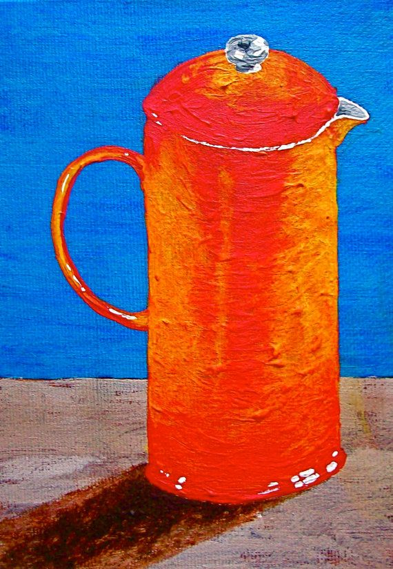 Love the warmth he captures in these colors!  Finished Brewing In the French Press ORIGINAL by MikeKrausArt