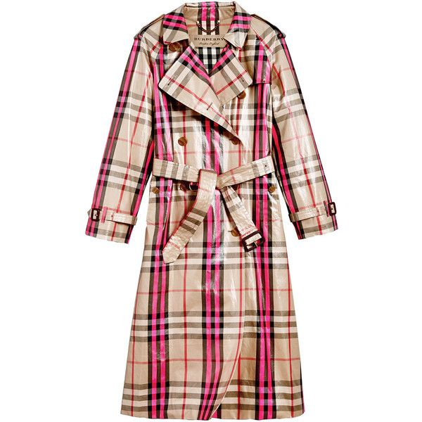 Burberry laminated check trench coat ($2,792) ❤ liked on Polyvore featuring outerwear, coats, trench coat, double breasted coat, leather trenchcoat, burberry, checkered coat and pink double breasted coat