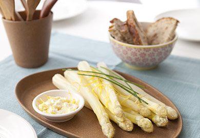 Asperges blanches, sauce mascarpone au citron - Recette Interfel - Les fruits et légumes frais