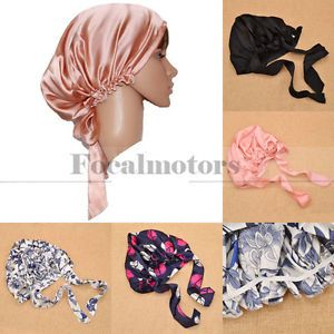 Women's Silk Sleeping Cap Night Sleep Hat Hair Care Scarves Bonnet Soft Fashion