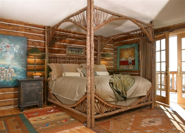 Bedroom by Laurie Waterhouse Interiors - rustic canopy bed by La Lune Collection