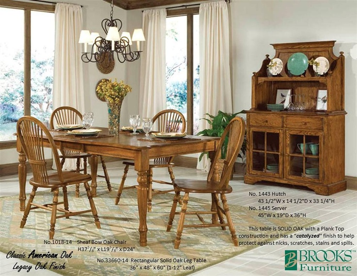Brooks Furniture Dining Room Classic American Oak Legacy Finish Table 33660 14
