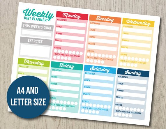 Weekly Diet Planner  New Years resolution by HayahDesigns on Etsy
