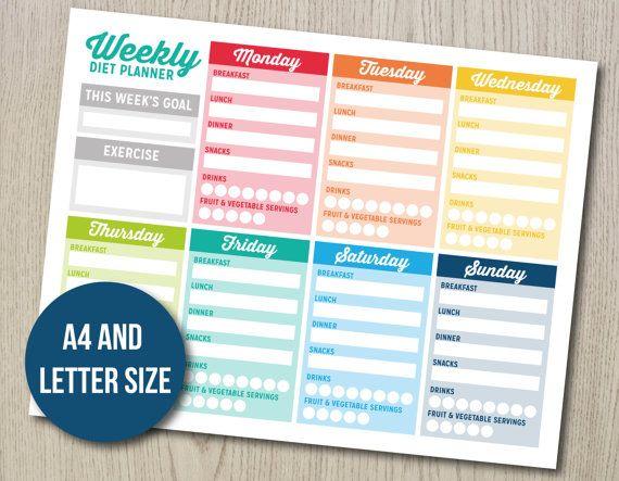 Weekly Diet Planner  Printable Nutrition Journal  by HayahDesigns