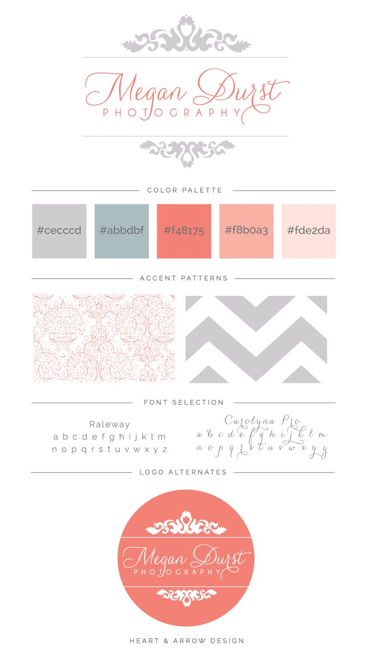 Megan Durst Photography brand board + logo by Heart & Arrow Design