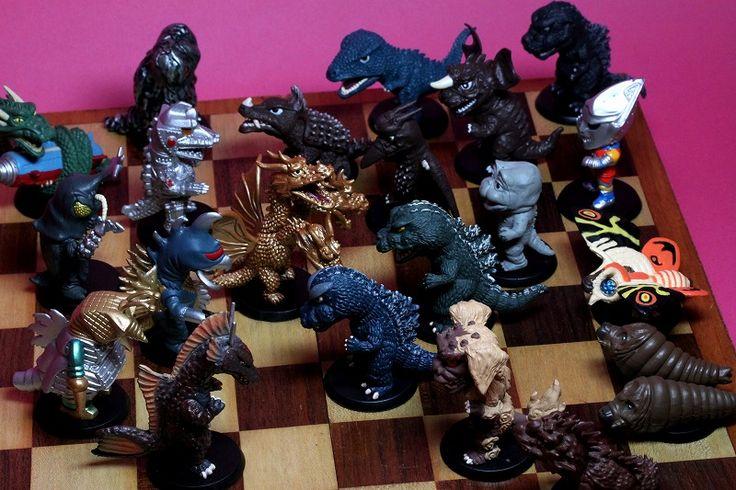 Chess Set Made With Small Godzilla Chibi Figures Shin