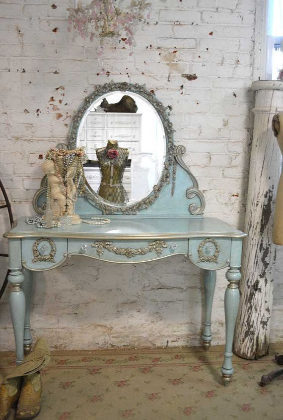 Painted Cottage Shabby Romantic Aqua Vanity by paintedcottages, $765.00