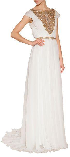 Ein Kleid, in dem wir uns wie eine griechische Göttin fühlen - die bodenlange Abendrobe aus weißem Seidenchiffon mit goldfarbenem Dekor und Schleppe von Marchesa #Stylebop