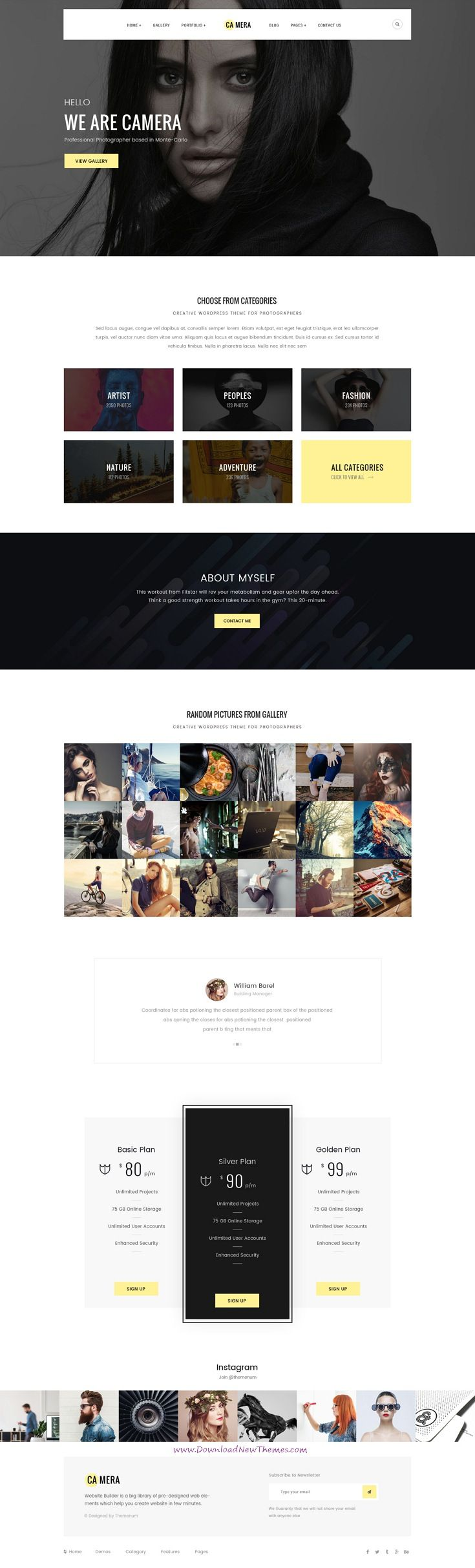 Camera is clean and modern pixel-perfect design PSD template for photographers and #portfolio showcase website with 34 layered PSD pages in light and dark versions to live preview & download click on Visit 👆 #photography #psdmockups