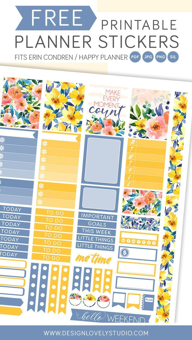 FREE printable planner stickers kit with beautiful watercolor floral motifs