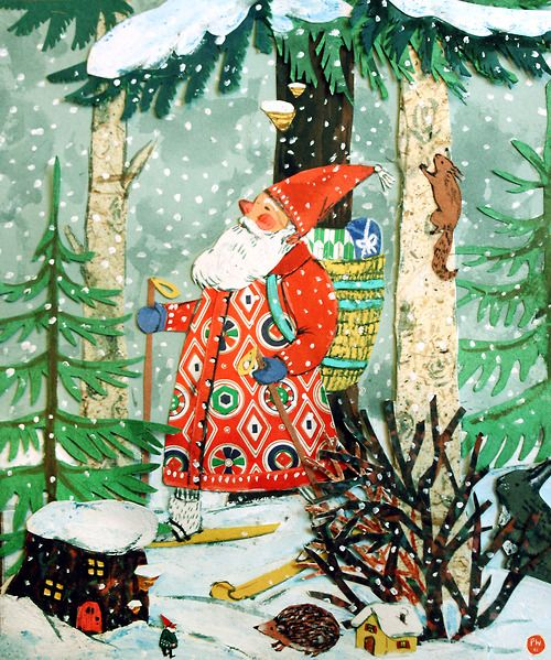 Merry Christmas!!! Watercolor & collage, Phoebe Wahl 2012