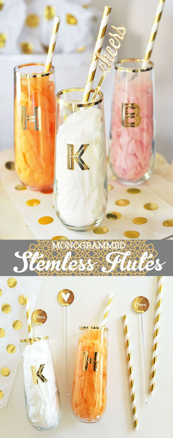 Stemless Champagne Flutes are unique Bridesmaid Gift Ideas.  Gold Monogram Stemless Wine Glasses are perfect to use as a bridal shower gift or at a bachelorette party too!  by Mod Party