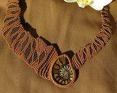 Moroccan fossil ammonite in a handmade macramè masterpiece necklace - brown natural necklace - graduation, wedding, birthday