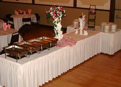 buffet table set up shirred pleat skirting
