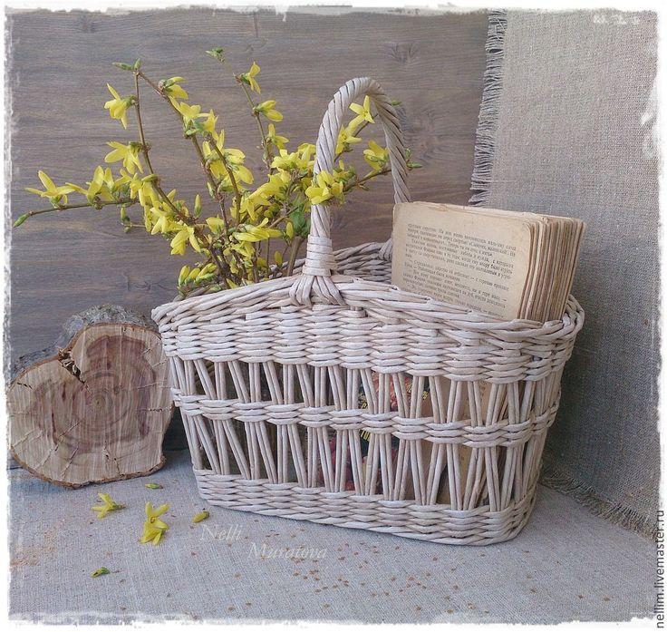 """Купить Ажурная корзина """"Весна за городом"""" - бежевый, корзина плетеная, корзина для фруктов, для хранения"""