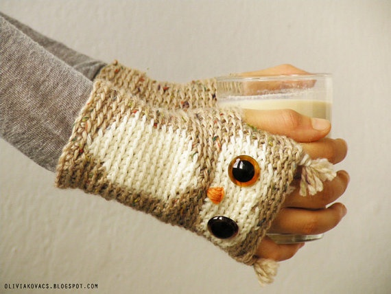 FINGERLESS GLOVES OWL Hand Warmers Crocheted Wrist Tweed by Pomber