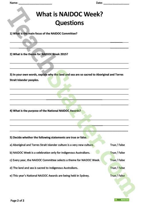 What is NAIDOC Week Comprehension Worksheet Teaching Resource