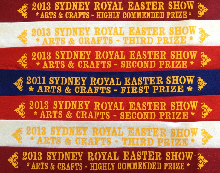 A collection of ribbons from the Easter Show.