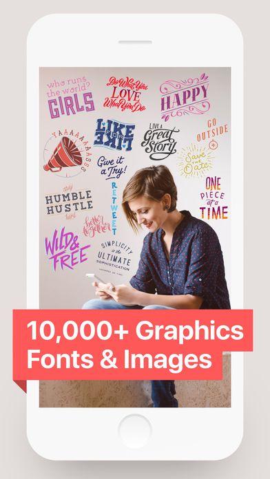 A INFINITY & BEYOND: sobrecargue sus fotos con una espectacular colección de 280 fuentes, 910+ ilustraciones y más contenido nuevo todo el tiempo.  Over es una de las apps más famosas y descargadas de todos los tiempos en su genero.