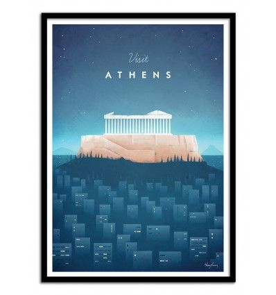 Art-Poster and prints Wall Editions : Travel Vintage Illustration Visit Athens by Henry Rivers. Illustration Format : 50 x 70 cm