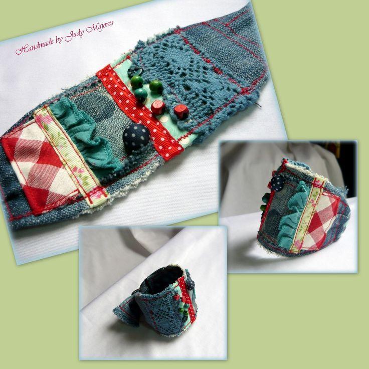 Handmade by Judy Majoros - Denim Cuff, Fabric Bracelet, Beaded-crochet-polka dots- Recycled bracelet