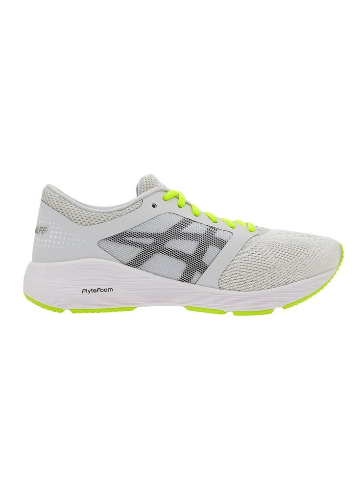 RoadHawk FF™️ by Asics®️ in Color: Glacier Grey/ Black/ Safety Yellow. The Roadhawk FF running shoe blends ASICS®️ FlyteFoam™️, a pinnacle Midsole Technology, with an ultra-comfy seamless top for a look and fit that performs.