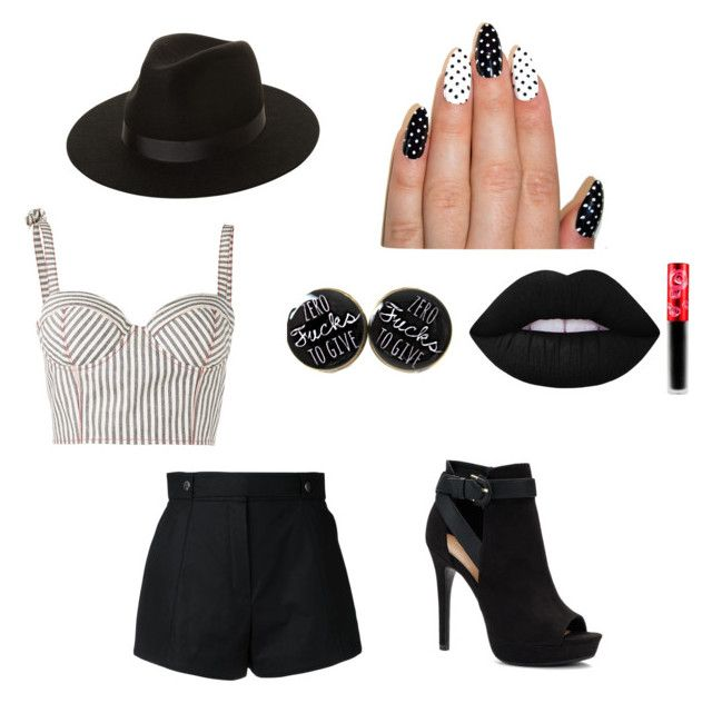 """Pretty in black and white"" by cal-h-jones on Polyvore featuring Rosie Assoulin, Courrèges, Apt. 9, Lack of Color and Lime Crime"