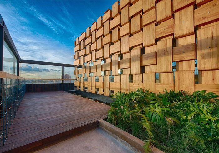 Exclusivo Decoración de madera terraza del bar de la azotea