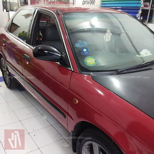 Baleno merah burgundy gloss oracal full wrapping sticker mobil bandung pro www.mangele.com 081227722792