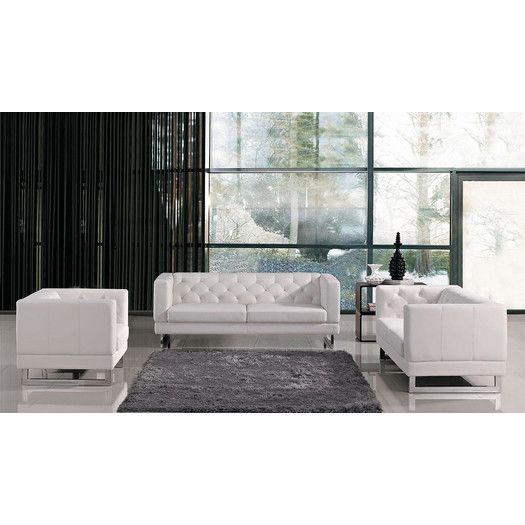 VIG Furniture Divani Casa Windsor Modern Tufted Eco-Leather Living Room Set