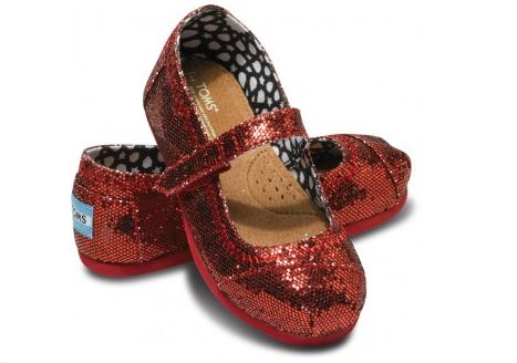 Ruby red shoes just like Dorothy's! The new styles from TOMS.