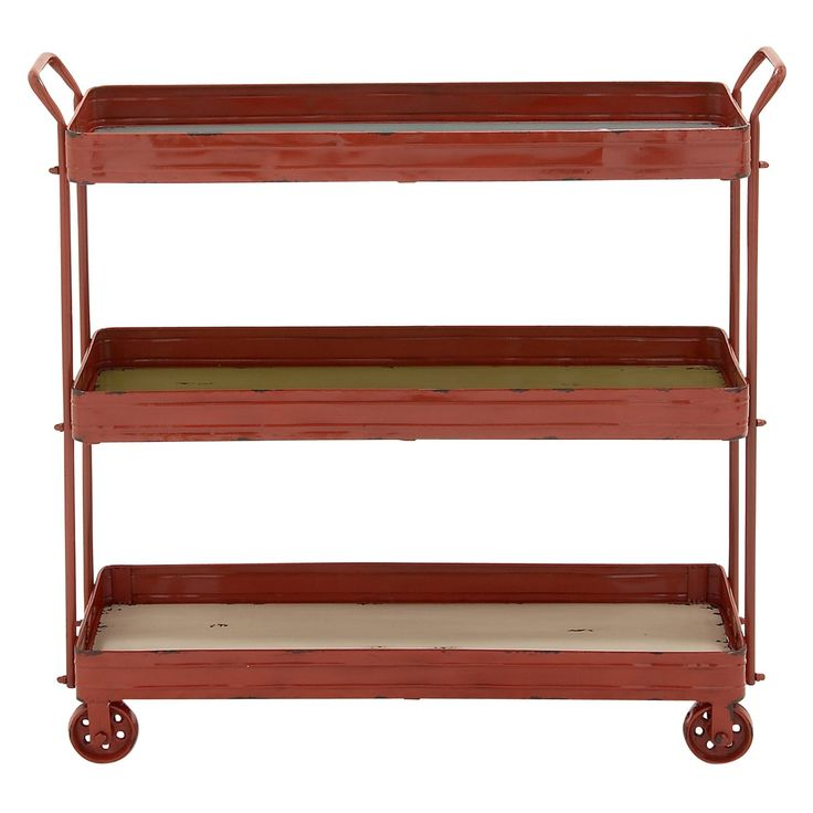 DecMode 3 Tier Rolling Utility Cart - Red - 42509