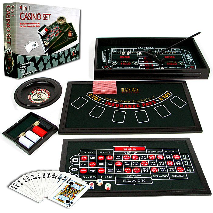 4 in 1 Casino Game Table Roulette, Craps, Poker, BlackJack.  This beautiful stained wood set is ideal for your own casino nights. With four classic casino games included such as Roulette, Craps, Texas Hold 'Em, and Black Jack, this set has all you need.
