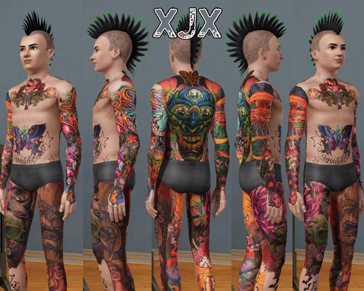 Mod The Sims - Oldschool - Newschool Full body suit tattoo