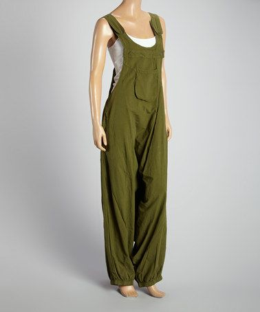 Love this Khaki Harem Overalls - Women by Coline USA on #zulily! #zulilyfinds