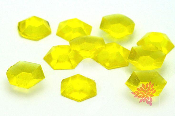 Sugar Jewels, Cake Bling! Lemon Yellow Edible Hexagon Gems, 19mm