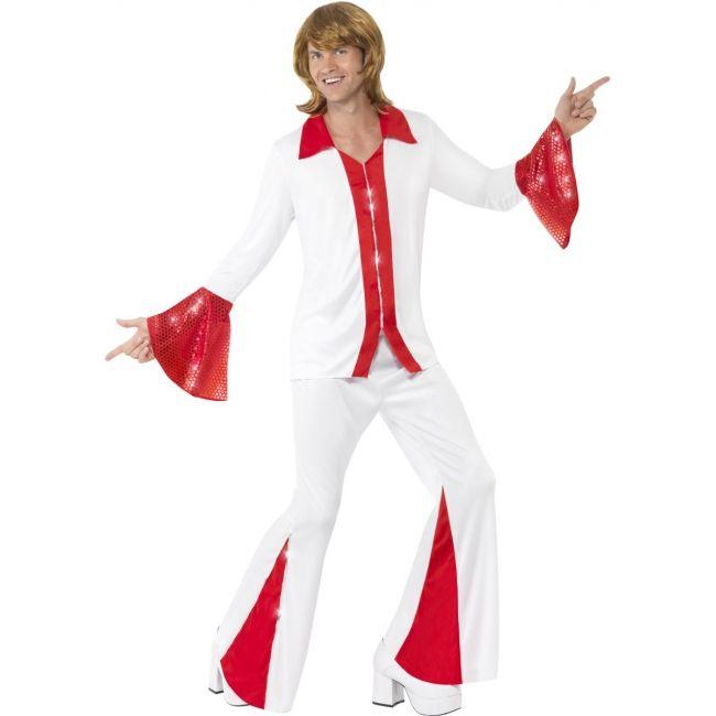 Super Trooper disco kostuum rood wit. Disco pak voor heren met wijd uitlopende mouwen en broekspijpen. Het kostuum bestaat uit het shirt met broek. Carnavalskleding 2015 #carnaval