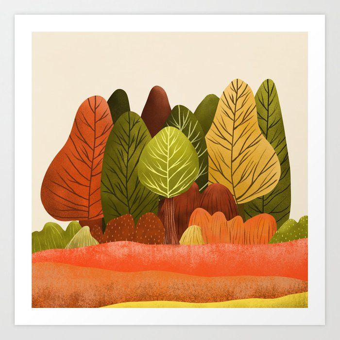 Buy Autumn Landscapes 1 Art Print By Vivianagonzlez Worldwide Shipping Available At Society6 Com Just One Of Millions Of Hi Cópias Botânicas Desenho Estações