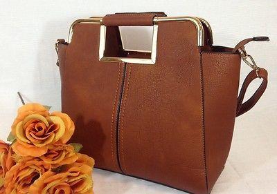 Cognac Satchel Handbag Tote Conv Cross Body  Design By Bosalina