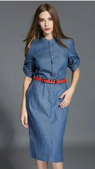 Который, джинсы, рубашка-платье