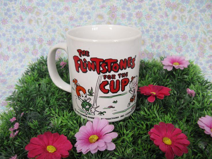 The Flintstones Mug - Freddie Flintstone - Wilma Flintstone - Hanna Barbera - 1970s Cartoons - Bedrock City - Pebbles Flintstone - Cartoon by MissieMooVintageRoom on Etsy