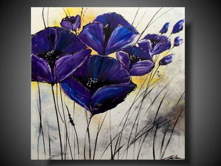 nowoczesny obraz | DUŻY OBRAZ fioletowe kwiaty OBRAZY RĘCZNIE MALOWANE NA…