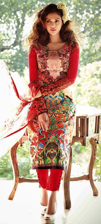 USD 47.42 Aditi Rao Hydari Red Lawn Cotton Pakistani Suit 44729